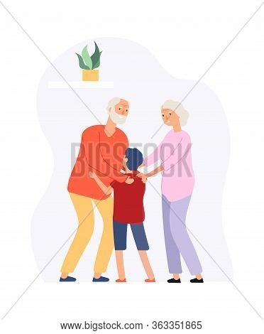 Family Time. Grandparents And Grandson. Happy Elderly Couple Hug Boy. Old People Meeting Young Guy V