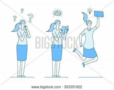 Girl Looking Answers To Questions. Reading And Learning, Searching For Ideas And Solutions. Self Edu