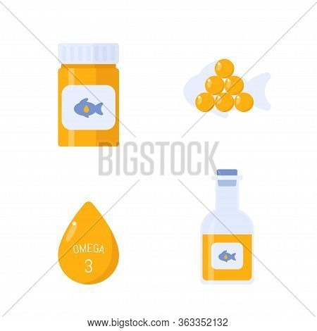 Fish Oil Vector Items. Nutrition Omega 3 Fatty Acid Salmon Fish Natural Source. Illustration Of Fish