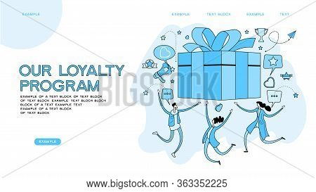 Online Reward Concept. Digital Referral Program. People Receive A Gift Box. Web Baner For Landing Pa