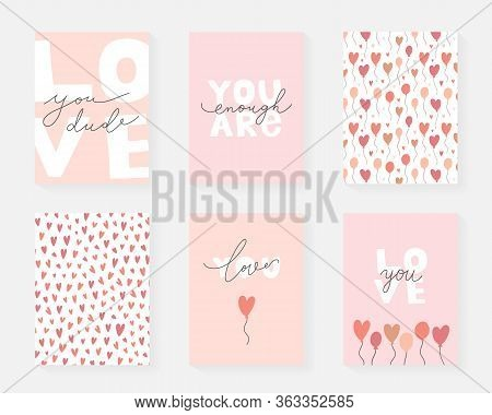Love Card Collection With Lettering And Simple Abstract Drawng, Modern Fun Motivational Cards, Love