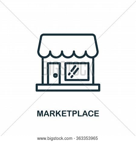 Marketplace Icon. Line Style Simple Element From E-commerce Icons Collection. Pixel Perfect Simple M