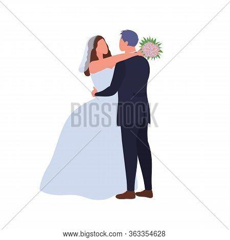 Happy Newlywed Hugging. Love Couple Cuddling At Wedding Day. Cartoon Groom Embracing Wife In Wedding