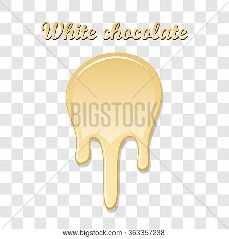 Chocolate Drip Splash. White Chocolate Liquid Blot Isolated White Transparent Background. Melt Desse