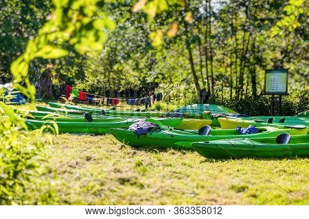 Drying Kayaks In A Tourist Camp. Camping. Tourist Halt.