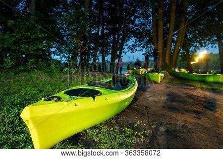 Drying Kayaks In A Night Tourist Camp. Camping. Tourist Halt.
