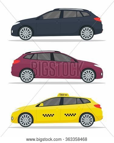 Car Wagon Mockup. Yellow Taxi Mockup. Realistic Cars With Shadows Isolated On White Background. Wago