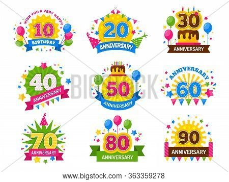 Anniversary Numbers. Celebration Party Year Celebrated Number Flyer For Happiness Cheers Vector Set.