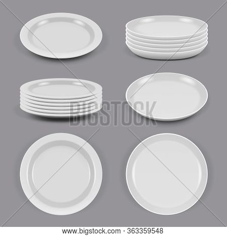 Ceramic Plates. Realistic Dishes For Food Kitchen Utensils Bowls And Plates Different Corners View V