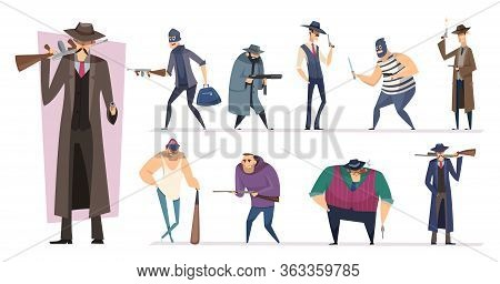 Mafia Characters. Masked Threat Gangster Brutal Bandit With Guns Vector Persons Isolated. Killer And