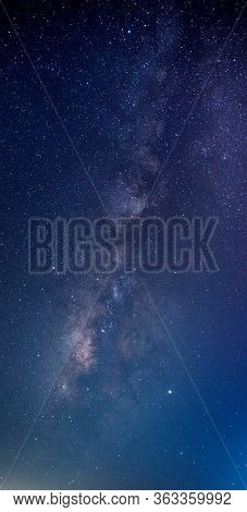Blue Night Sky Milky Way And Star On Dark Background.universe Filled With Stars, Nebula And Galaxy W
