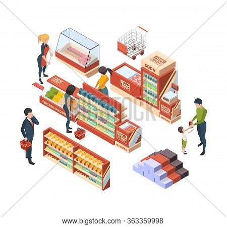 Grocery Customers. Isometric People With Shopping Carts In Retail Market Buying Food Marketplace Ite