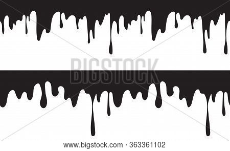 Current Ink Seamless Pattern. Isolated Dripping Oil Or Black Liquid, Petrol Vector Background. Ink D
