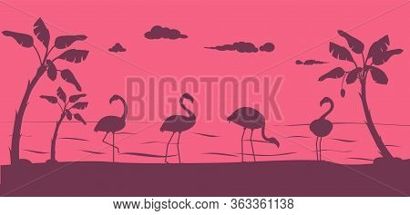 Flamingo Silhouette. Birds On Beach, Wildlife And Nature. Summertime, Vacation Or Tourism Illustrati