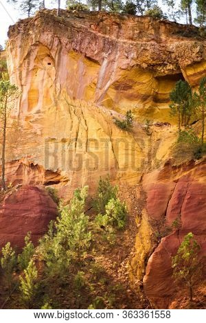 Vertical Picture Of Ochre Trail In Roussillon, Sentier Des Ocres, Hiking Path In Natural Colorful Ar