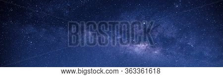 Panorama Blue Night Sky Milky Way And Star On Dark Background.universe Filled With Stars, Nebula And