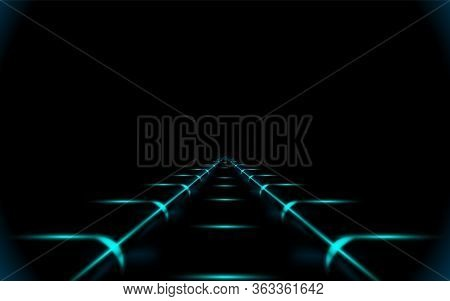 Glowing Road Into Virtual Reality Or Cyberspace, Abstract Minimal Dark Background. Concept Art Piece