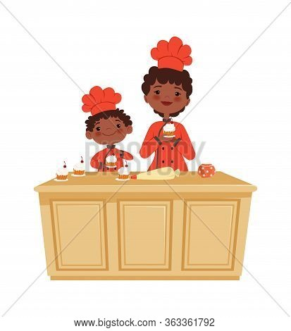 Mother And Son Cooking. Cakes Time, Bakery Workshop. Isolated Afroamerican Kid And Woman Making Muff