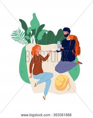 Tourists At Stop. Man Woman On Picnic. Male With Backpack, Female Drinking. Hiking, Vacation Time Ve