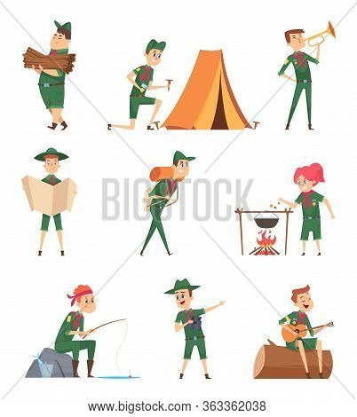 Rangers Kids. Little Scouts In Green Uniform Survival Characters With Backpack Studying Vector Child