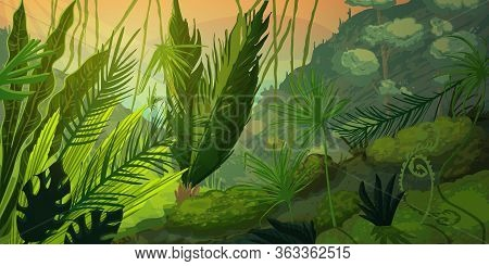 Wild Tropical Landscape At Misty Forest With Jungle Plants. Mysterious Nature Scenery In Sunset Or S