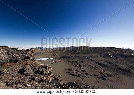 Lunar Landscape On The Mount Kilimanjaro In Africa