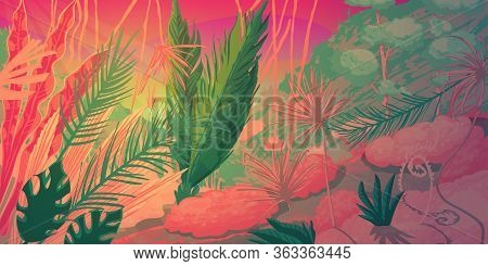 Wild Tropical Forest Landscape With Jungle Plants. Fantasy Nature Scenery In Vibrant Colors. Vector