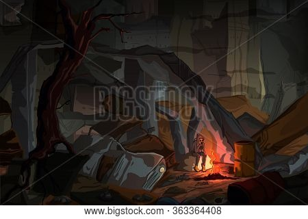 Apocalyptic Landscape With A Boy In A Gas Mask Sitting By The Fire In Dark Destroyed City. Fog Drama