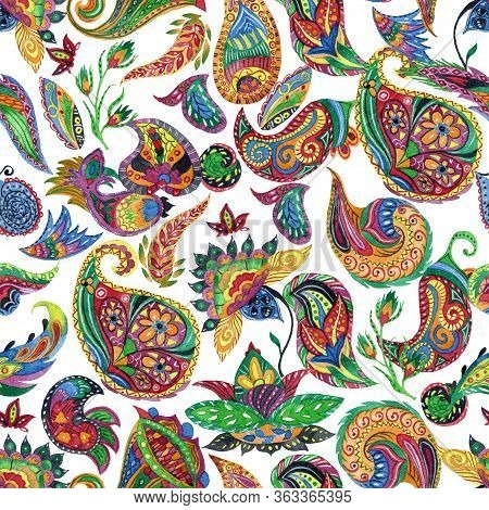 Seamless Pattern With Watercolor Paisley. Oriental Decorative Design For Fabric, Prints, Wrapping Pa