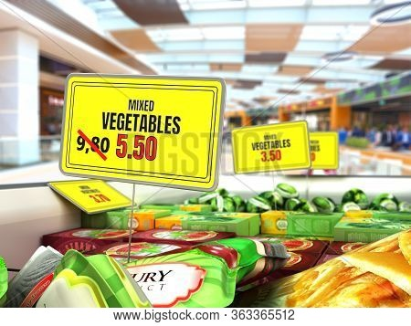 Concept Of Reduced Food Prices Plate With Discount Price Tag In The Fridge With Vegetables 3d Render