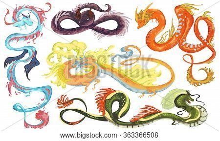 Chinese Dragons Set. Traditional Asian Dragon Characters In Watercolor Style. Isolated Objects On Wh