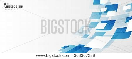 Abstract Wide Cover Of Blue And White Distort Square Technology Artwork Graphic Design Background. U
