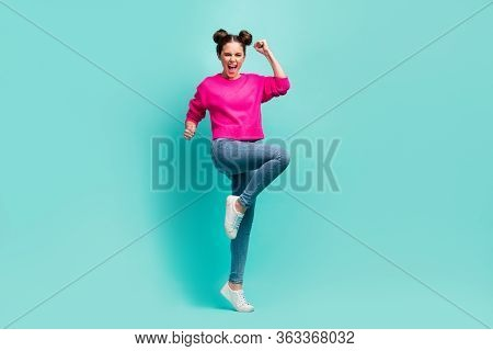 Full Length Body Size View Of Nice Attractive Lovely Ecstatic Cheerful Cheery Wavy-haired Girl Havin