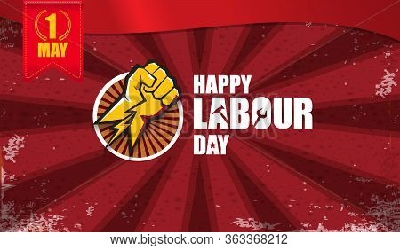 Happy Labour Day Vector Label With Strong Orange Fist Isolated On Red Rays Horizontal Background. Ve