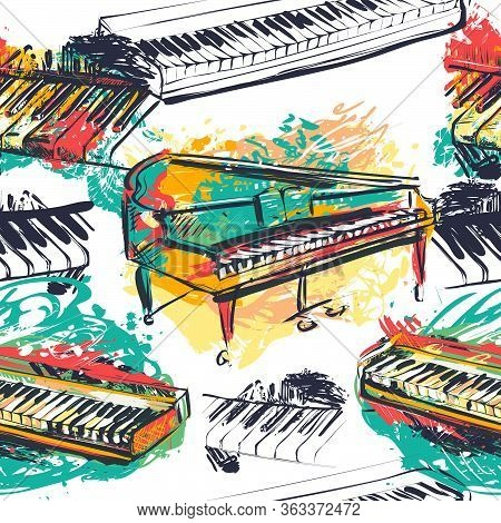 Seamless Pattern With Abstract Piano Keyboard, Grand Piano And Synthesizer In Watercolor Sketch Styl