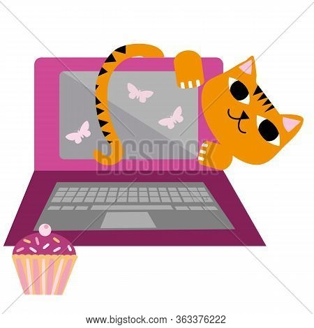 Cute Cartoon Cat And Laptop Vector Illustration. Cheeky Ginger Feline Character Peeks Out Behind Mon