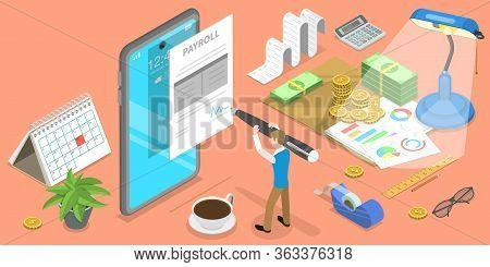 3d Isometric Flat Vector Concept Of Mobile Payroll App, Salary Payment.
