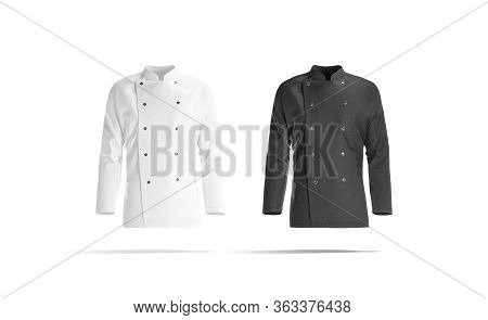 Blank Black And White Chef Jacket Mockup Set, Front View, 3d Rendering. Empty Cotton Master Protect