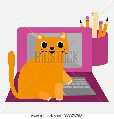 Cute Cartoon Cat And Laptop Vector Illustration. Cheeky Ginger Feline Character Plays On Keyboard An