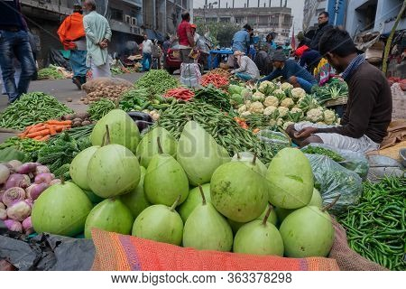 Kolkata, West Bengal, India - 16th December 2018 : Calabash, Bottle Gourd, Or White-flowered Gourd,