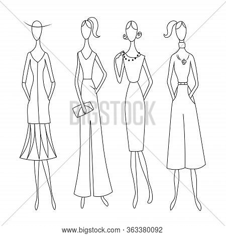 Fashion Women In Fashionable Clothes. Hand Drawn Fashion Model Outline Collection.