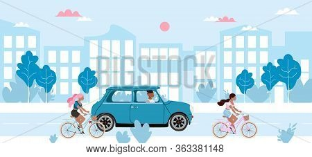 People And Transport On A Road. Girls Riding Bicycles, Man In The Mini Car. Blue Cityscape And Low T