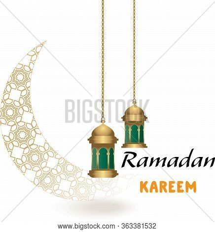 Ramadan Background With A Crescent Decorated With Islamic Decoration And Lantern , Arabic Calligraph