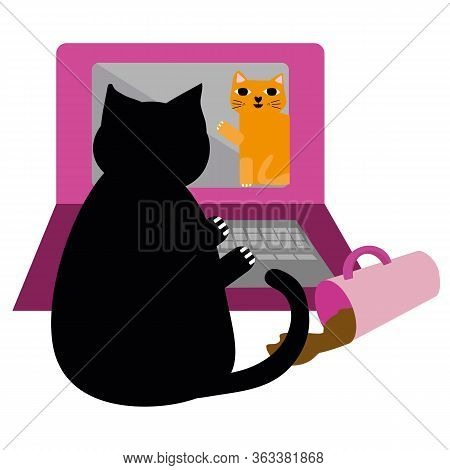 Cute Cartoon Pet Cat And Laptop Vector Illustration. Cheeky Black Kitty Communicates With Ginger Fur