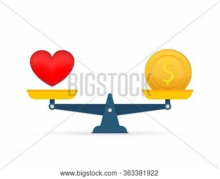 Love Is Money On Scales Icon. Money And Love Balance On Scale. Vector Stock Illustration