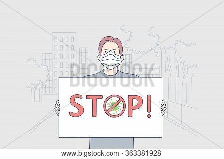Healthcare, Manifestation, Infection, Coronavirus, Activism Concept. Man Activist Cartoon Character