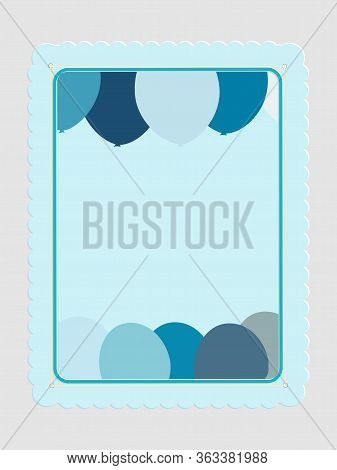 Blank Copy Space Blue Card With Balloons And Decorated Frame With String On Gray Background