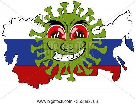 Cartoon Coronavirus On Card Of The Russia