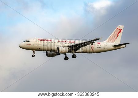 Frankfurt, Hesse Germany - December 23: Airbus A320 Of Tunisair Arriving At Frankfurt Airport. Tunis