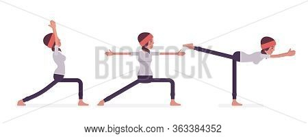 Young Woman In Yogi Sports Wear Practicing Yoga, Doing Standing Poses, Warrior One, Two, Three Varia